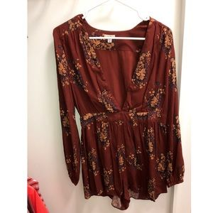 Urban Outfitters Maroon Romper